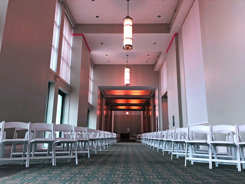 chairs set up for a wedding ceremony at the Main Library