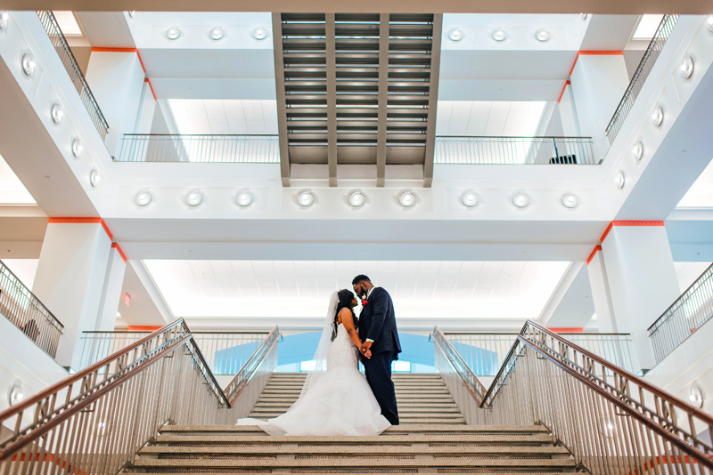 married couple on the Grand Staircase at the Main Library