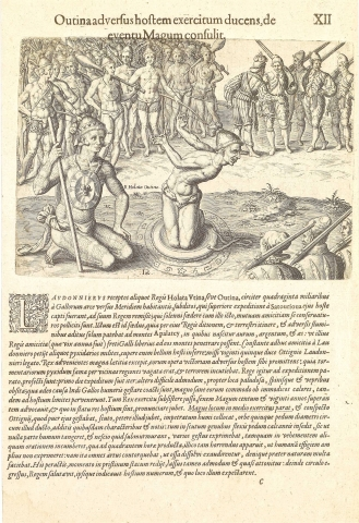 Plate XII. Outina, going at the Head of His Army, Against the Enemy, Consults a Sorcerer on the Event