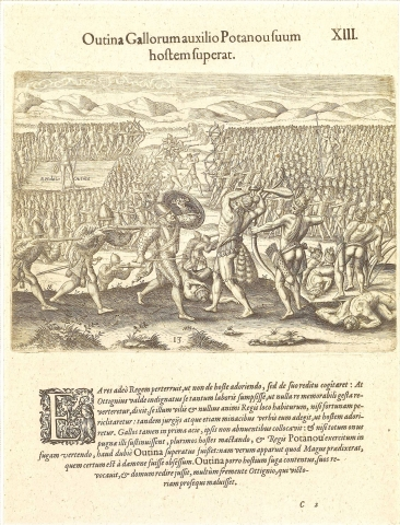 Plate XIII. Thanks to the French, Outina Gains a Victory over his Enemy Potanou