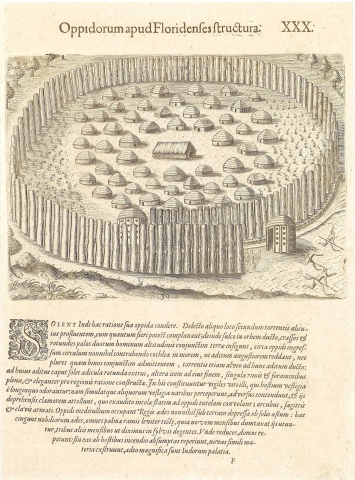 Plate XXX. How the Floridians Construct their Fortified Towns