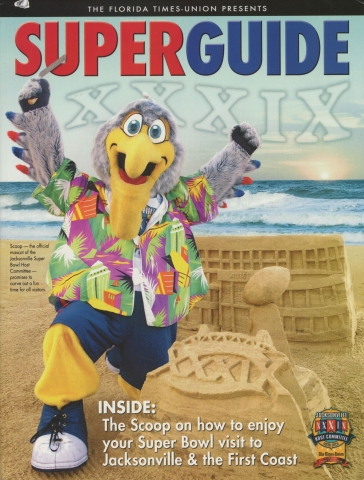 """Cover of """"Super Guide"""" from the Florida Times Union with the mascot Scoop"""