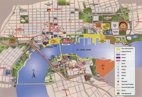 Downtown Jacksonville Map (inside Visitor's Guide)