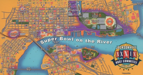 Inside of the Jacksonville Super Bowl Host Committee marketing pamphlet with map