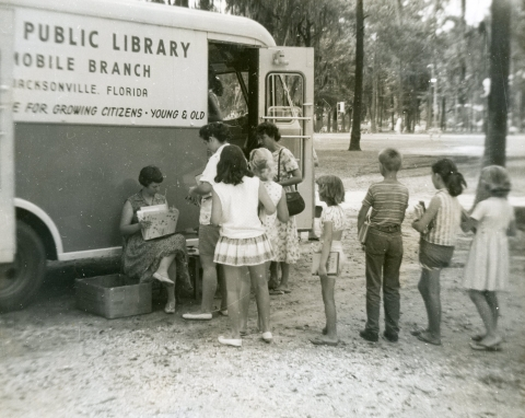 bookmobile with children