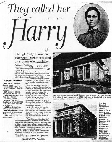 They Called Her Harry, newspaper article from 1994