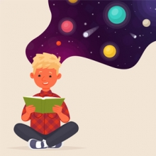 child dreaming of space