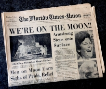 Cover of the Times-Union paper from Jacksonville Florida on the event of the moon landing, part of the Special Collections at the Jacksonville Public Library
