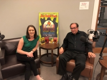Completely Booked podcast host Jenna, sitting next to Goosebumps author RL Stine for his interview on the JPL podcast