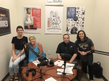 Hurley in the podcast studio with Eileen Kelley, Gary Mills and Jenna Hassell
